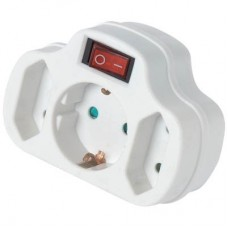 Adaptor Ρεύματος SAS 3 Θέσεων Με Διακόπτη Λευκός